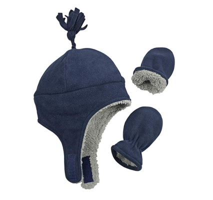 Nice Caps Sherpa Lined with Mittens Navy
