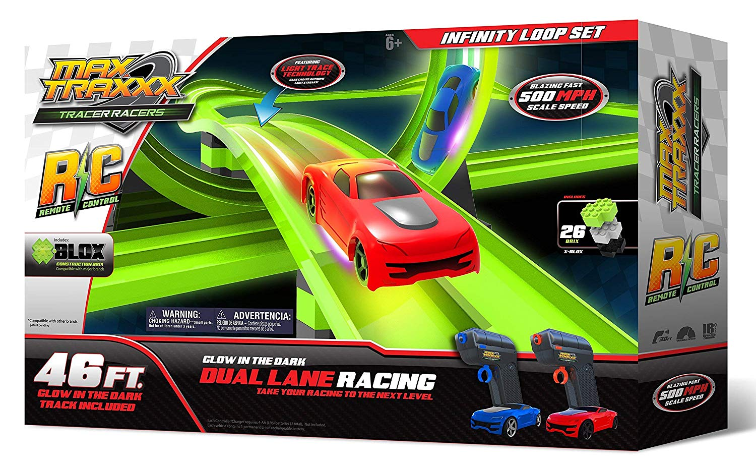 The Tracer Racers Remote Control Infinity Loop Set can be driven at multiple speeds.