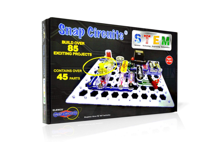 3 AA batteries are required for the Snap Circuits Stem Electronics Discovery Kit.