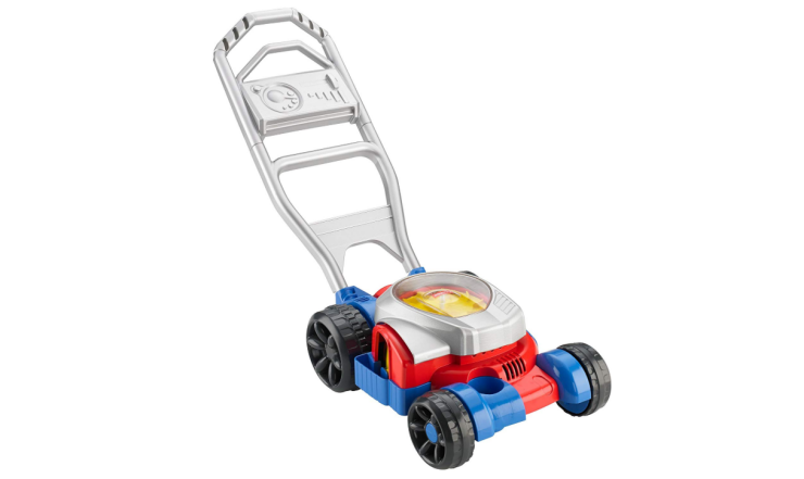 The Fisher Price Bubble Lawn Mower features realistic sounds.