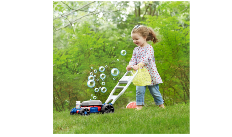 The motor of the Fisher Price Bubble Lawn Mower spins.