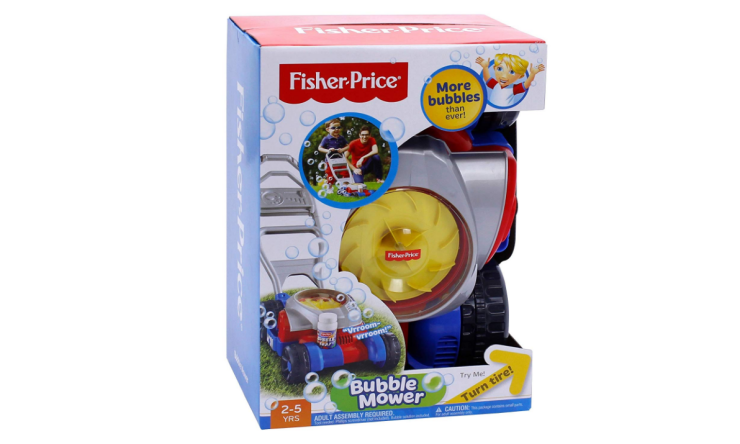 The Fisher Price Bubble Lawn Mower blows bubbles.