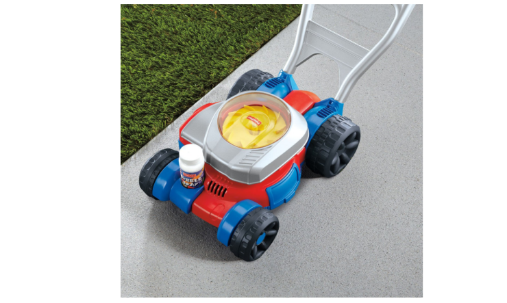 The Fisher Price Bubble Lawn Mower is easy to push.