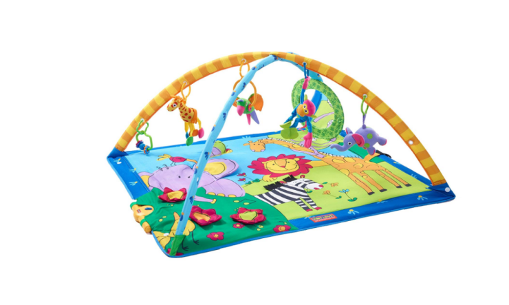 The Tiny Love Super Deluxe Activity Play Mat features 18 developmental activities.
