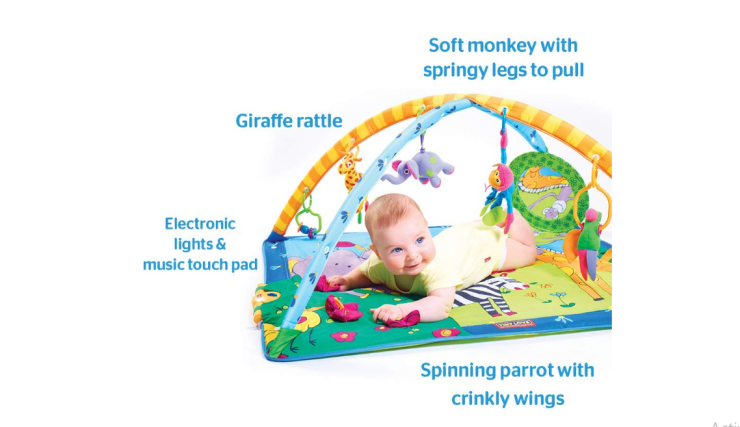 The Tiny Love Super Deluxe Activity Play Mat has detachable toys.