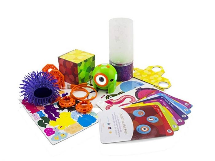You can customize the Wonder Workshop Dot Creativity Kit Robot with the many stickers that are included.