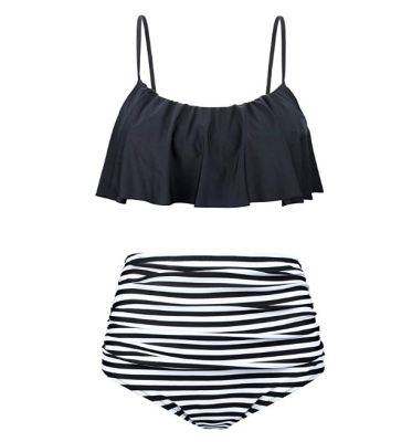 newbely high waisted retro maternity swimsuit stripes