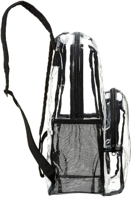 Amazon Basics Clear School Backpack side view