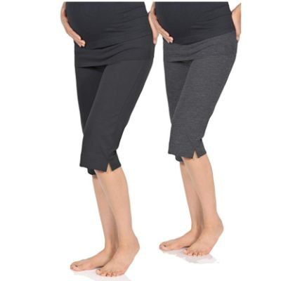 BeachCoCo Cropped Maternity Leggings Two Pack
