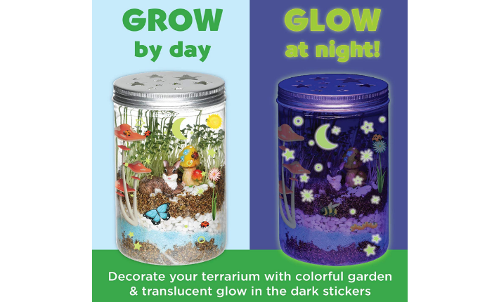Creativity for Kids Grow 'n Glow Terrarium grows by day and glows at night