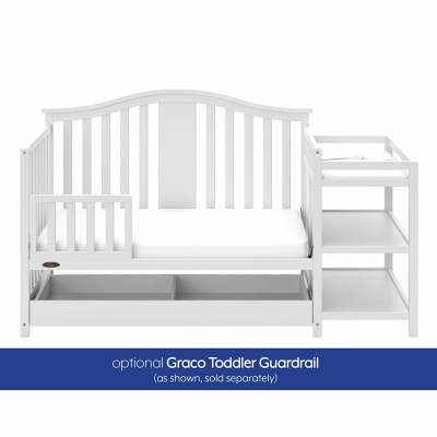 graco solano 4-in-1 crib with changing table guardrail