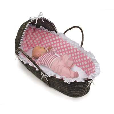 Hooded Moses Basket Polka Dots Baby