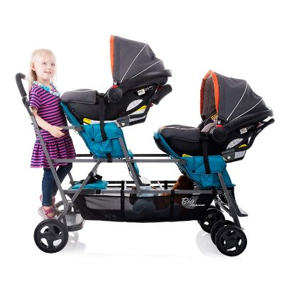 joovy big caboose graphite triplet stroller stand and sit
