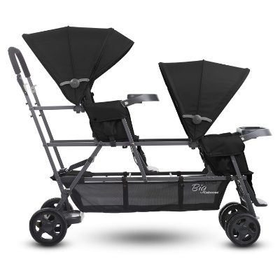 joovy big caboose graphite triplet stroller side view