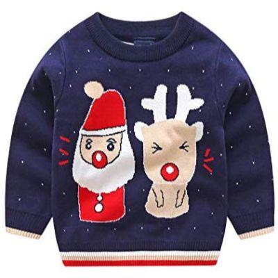 kintaz deer snowman christmas sweater blue