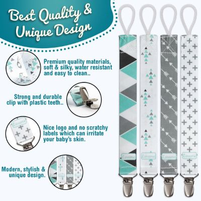 Liname 4-Pack Pacifier Clips Features