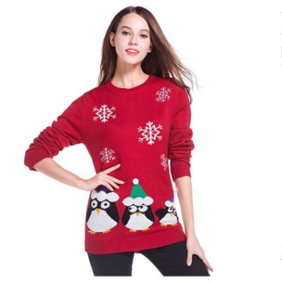 Penguin Pullover Christmas Sweater Pose