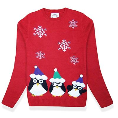 Penguin Pullover Christmas Sweater Close Up