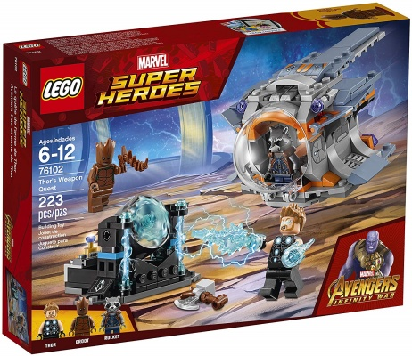 marvel lego set avengers inifinty war thor's weapon quest box