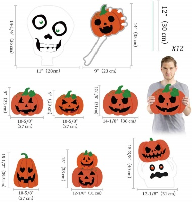 pumpkins skeleton and ghost yard signs halloween decorations measurements
