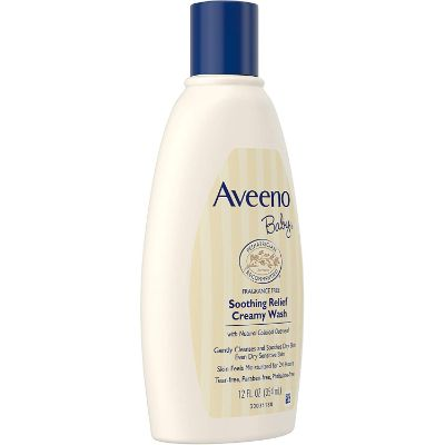 aveeno baby soothing relief creamy baby wash for eczema left side
