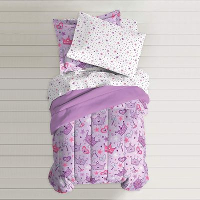 dream factory purple princess hearts kids bedding top view
