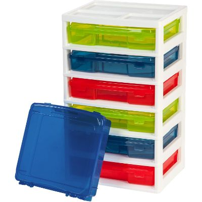 iris 6-case activity chest lego storage container with cases