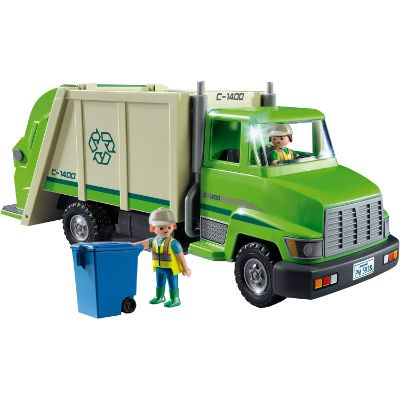 playmobil green recycling truck design