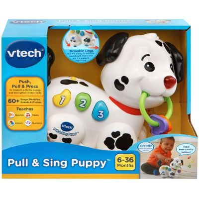 vTech pull and sing puppy pull toy for kids package