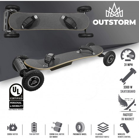 outstorm 31 MPH off road electric skateboard