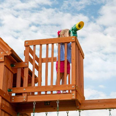 Backyard Discovery Skyfort II All Cedar Wood outdoor playset crows nest