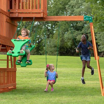 Backyard Discovery Skyfort II All Cedar Wood outdoor playset swings
