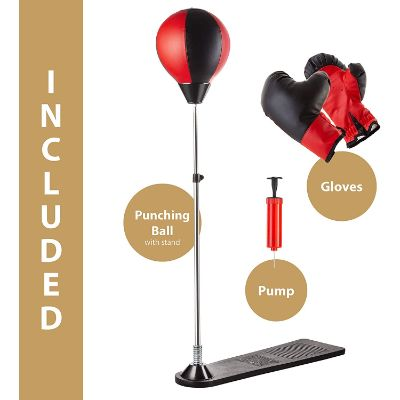 techTools ball with stand and gloves punching bag for kids features