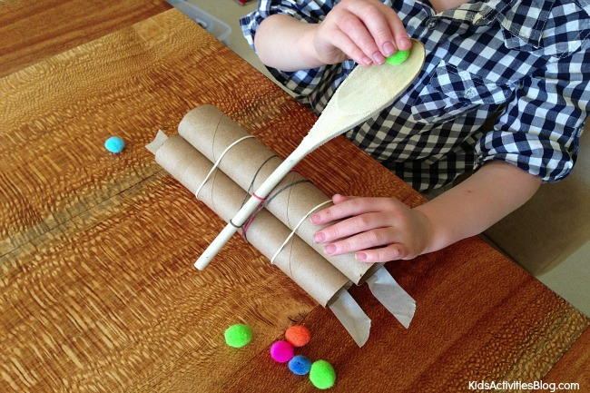 diy paper towel tube and spoon catapult