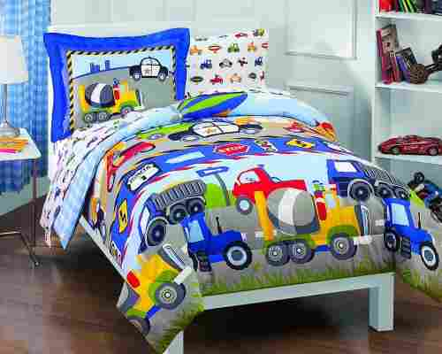 dream factory trucks tractors kids' bedding pattern