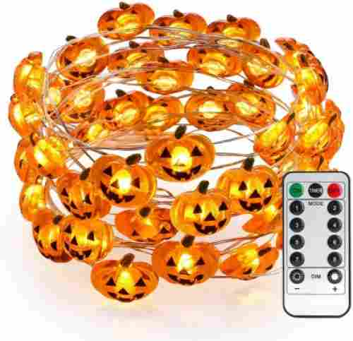 brizled pumpkin string lights halloween decorations led