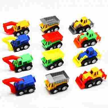 12 Pack Pull Back Vehicles, Assorted Construction Vehicles