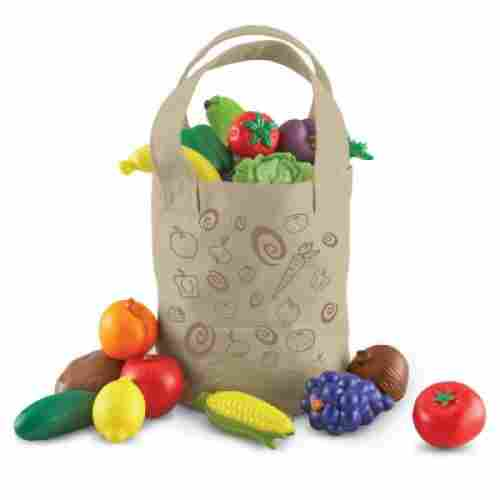 Fresh Picked Fruit and Veggie Tote play dishes
