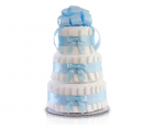 Classic Pastel Baby Shower (3 Tier, Blue) baby diaper cake for boys