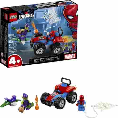marvel lego set spider-man car chase pieces