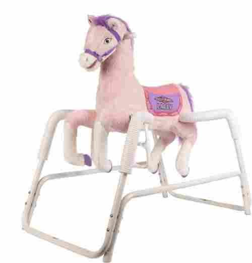 lacey talking plush spring rocking horse pink