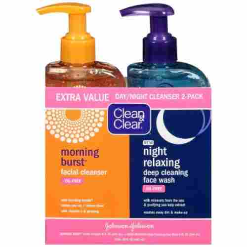 clean & clear 2-pack face wash for teens day and night