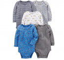 Boys' 5-Pack Long-Sleeve Bodysuit