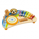hape mighty mini band wooden drum set for kids and toddlers