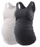 Ecavus Womens Basic Layering Maternity Tank Top Pregnancy Shirts