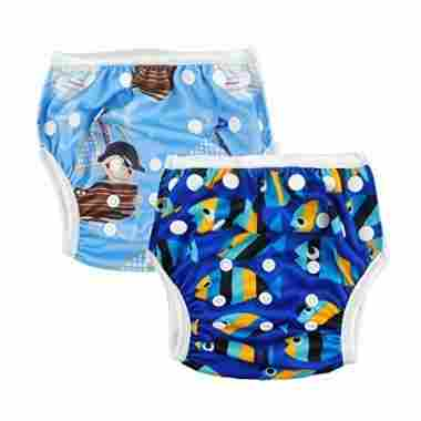 Reusable swim diapers for boys and girls.
