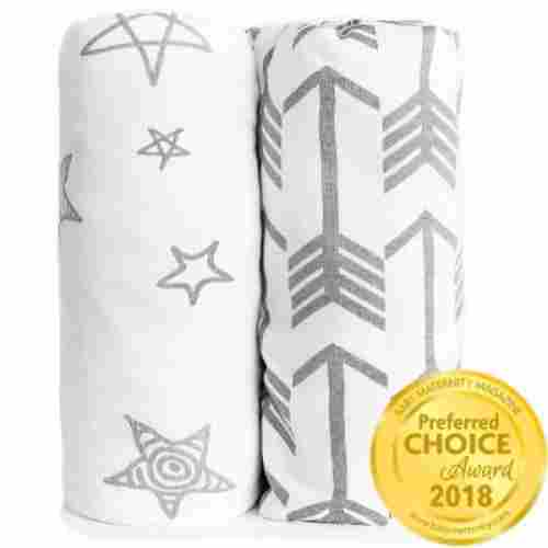arrows & stars 100% premium jersey crib sheets