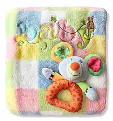 Baby Blanket and Rattle Gift Set by BubbyBabies