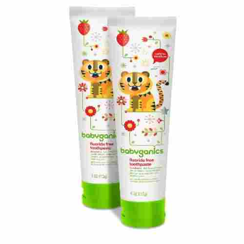 babyganics fluoride free strawberry toddler toothpaste