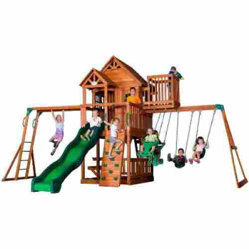 Backyard Discovery Skyfort II All Cedar Wood outdoor playset display